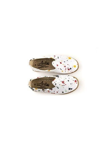 Aintap %100 Hakiki Deri Çocuk Ayakkabı Püskürtme Beyaz Gaziantep Yemeni Beyaz